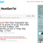 Skjermbilde av Nextgentel sin Twitter side, fredag 20. august.