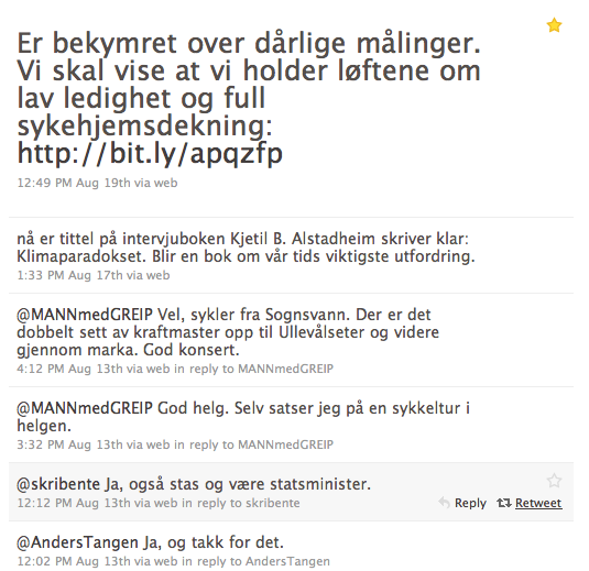 Stoltenbergs Twitter-feed knipset lørdag 21. august, 2010.